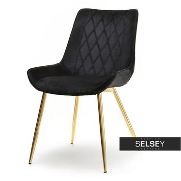 Krzesło Adel czarny velvet na złotych nogach