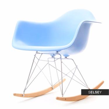 Fotel bujany MPA ROC niebieskie designerski bujak z podłokietnikami