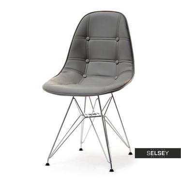 Krzesło MPC rod tap szare pikowane na chromowanych nóżkach