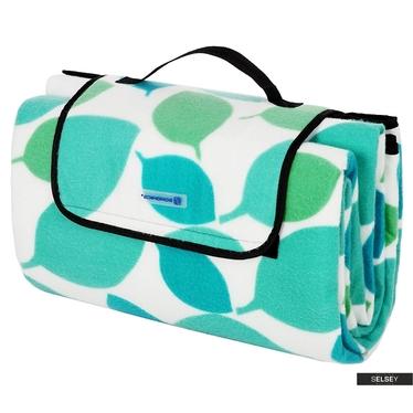 Koc piknikowy Fresh Air 200x200 cm składany w torbę z rączką wzór w listki