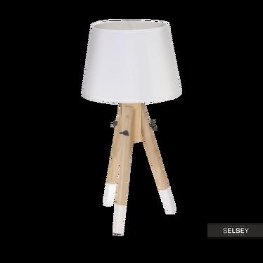 Lampa stołowa drewniana z abażurem 49 cm