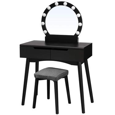 Toaletka Gaga czarna z okragłym lustrem i stołkiem z oświetleniem