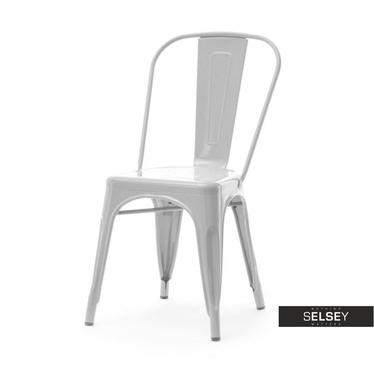 Krzesło Alfredo 1 szare loftowe z metalu