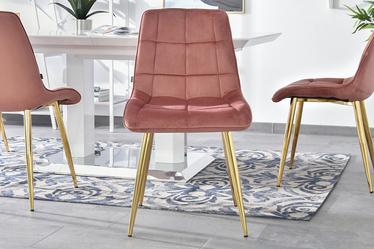 Krzesło Olsen różowo - złote tapicerowane z przeszyciami