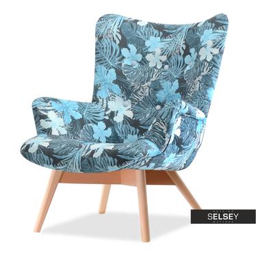 Fotel Flori kwiaty - buk uszak pikowany