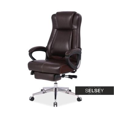 Fotel biurowy Thompson ciemnobrązowy