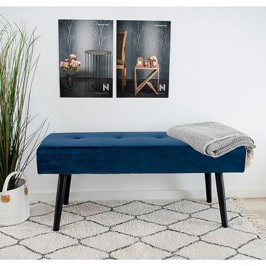 Ławka tapicerowana Belicer 100x35 cm niebieski velvet
