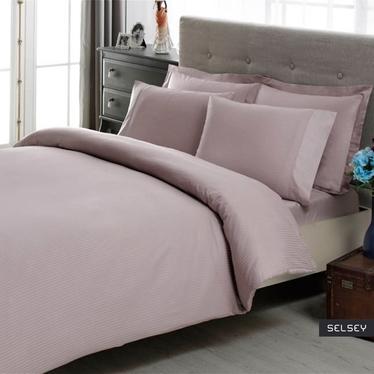 Komplet pościeli Lilac Stripes 200x220 cm z dwiema poszewkami na poduszkę 50x70 cm i z prześcieradłem