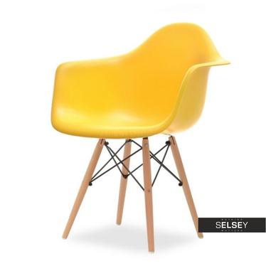 Krzesło MPA wood żółte z tworzywa na drewnianych nogach