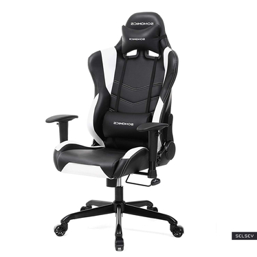 Fotel gamingowy Operon z białymi przeszyciami