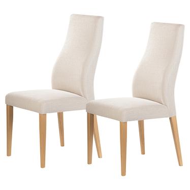 Zestaw dwóch krzeseł tapicerowanych Dreta beżowe w tkaninie łatwoczyszczącej na bukowej podstawie