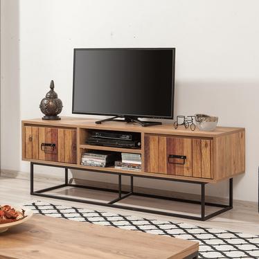 Szafka RTV Kolosu 140 cm sosnowa z dekorem drewnianych listewek na frontach