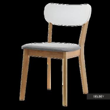 Krzesło Amado dębowe z białym oparciem
