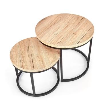 Zestaw stolików kawowych Yese o średnicy 53cm i 43 cm dąb san remo - czarny