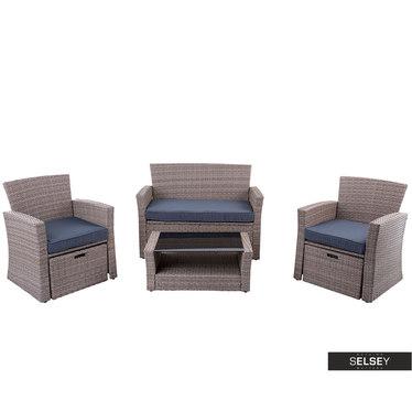 Zestaw ogrodowy Billo dwa fotele z podnóżkami, sofa i stolik
