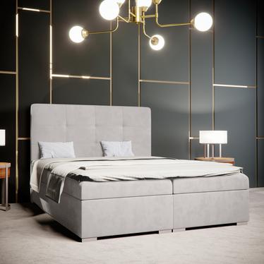 Łóżko kontynentalne Bongiorno jasnoszare w tkaninie wodoodpornej