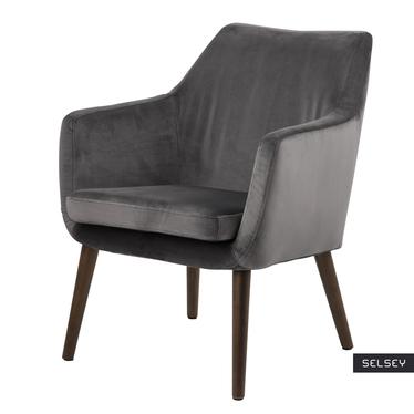 Krzesło Marcelio szare welurowe