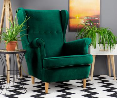 Fotel z podnóżkiem Malmo zielony welur
