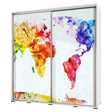 Szafa Wenecja 205 cm Mapa świata geometria
