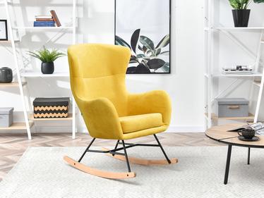 Fotel bujany Nesta żółty na bukowych płozach