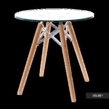 Stół Eames Glass średnica 70 cm ze szklanym blatem