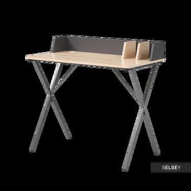Biurko Raptor na stalowej podstawie z funkcjonalnymi przegródkami dębowo-szare