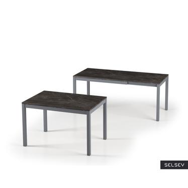 Włoski stół rozkładany Alberto 120(180)x80 czarny marmur na antracytowych nogach