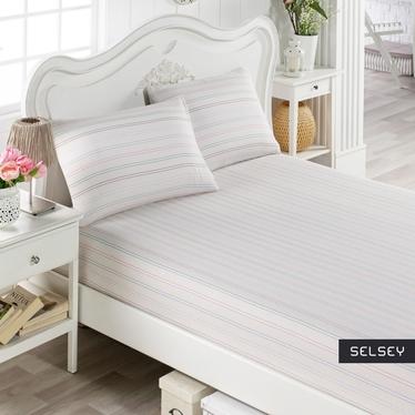 Prześcieradło Pastel Stripes 160x200 cm z dwiema poszewkami na poduszki 50x70 cm pastelowe pasy