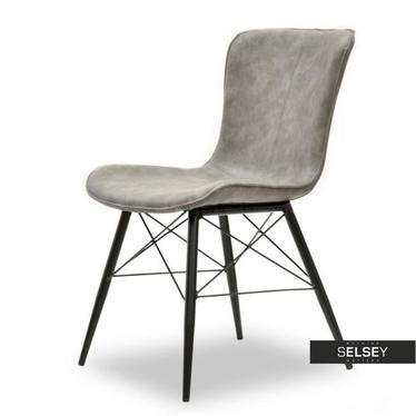 Krzesło Margot szaro-czarne z profilowanym siedziskiem