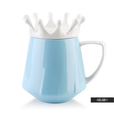 Kubek z pokrywką Crown niebieski