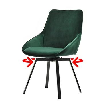 Krzesło tapicerowane Yanii z podłokietnikami zielone na czarnej podstawie