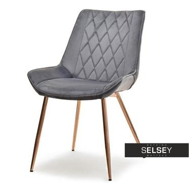 Krzesło Adel szary velvet na miedzianych nogach