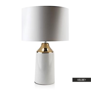 Lampa stołowa Rivalto biało-złota