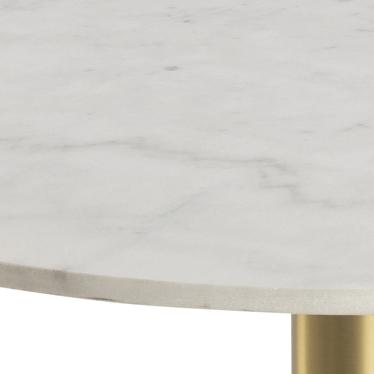 Stolik kawowy okrągły Corbines średnica 90 cm biały marmur na mosiężnej nodze