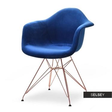 Krzesło MPA rod tap granat-miedź aksamitne do salonu
