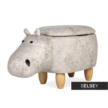 Siedzisko Hipopotam jasnoszary na drewnianych nóżkach