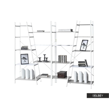 Zestaw regałów Pyton biały - beton z dziewięcioma półkami loftowy