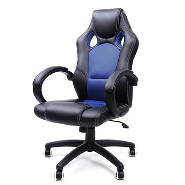 Fotel biurowy Rees czarny z niebieskimi wstawkami