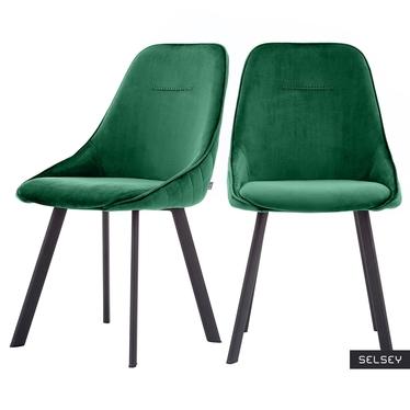 Zestaw dwóch krzeseł tapicerowanych Jonas zielone pikowane