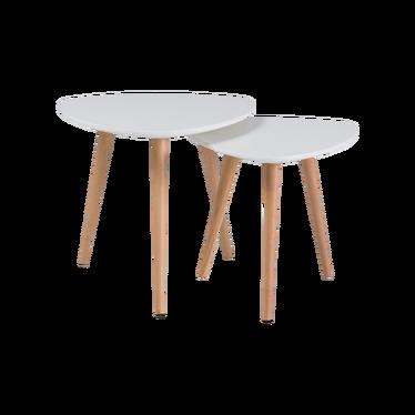 Zestaw stolików kawowych Randers 48x48 cm i 40x40 cm biały