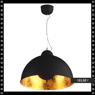 Lampa wisząca Gravity czarna ze złotym wnętrzem do salonu alfi