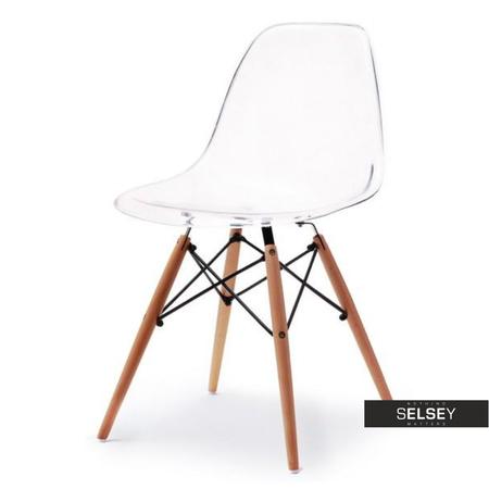 Krzesło MPC wood transparentne na drewnianych nóżkach