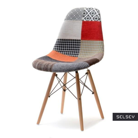 Krzesło MPC wood tap patchwork na drewnianych nogach