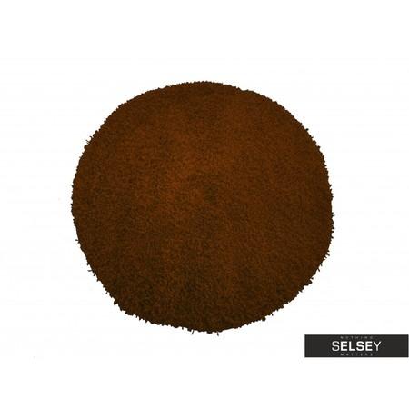 Dywan Shaggy okrągły brązowy