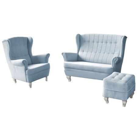 Komplet wypoczynkowy Alesso sofa i fotel z podnóżkiem