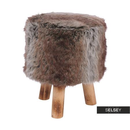 Stołek Lucerna średnica 32 cm brązowy drewniany z futrem