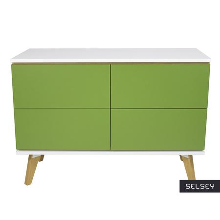 Komoda Damaro zielona z czterema szufladami
