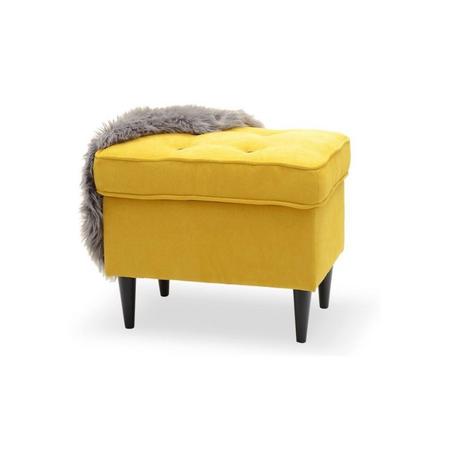 Podnóżek Malmo żółto-czarny designerski z guzikami