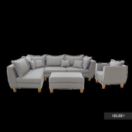 Komplet wypoczynkowy Bornholm narożnik i fotel z podnóżkiem