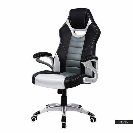 Fotel biurowy Rita czarny z szarymi wstawkami